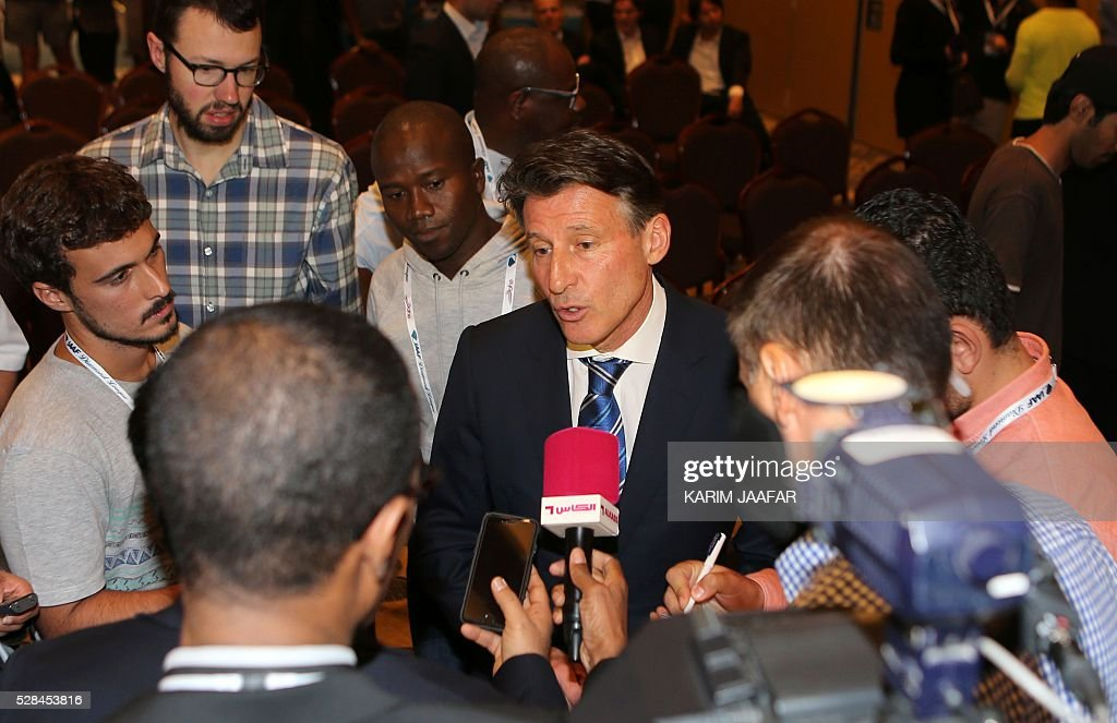 International Association of Athletics Federations (IAAF)'s president, Sebastian Coe, talks to the press in the Qatari capital Doha on May 5, 2016, on the eve of the Diamond League athletics meeting. / AFP / KARIM