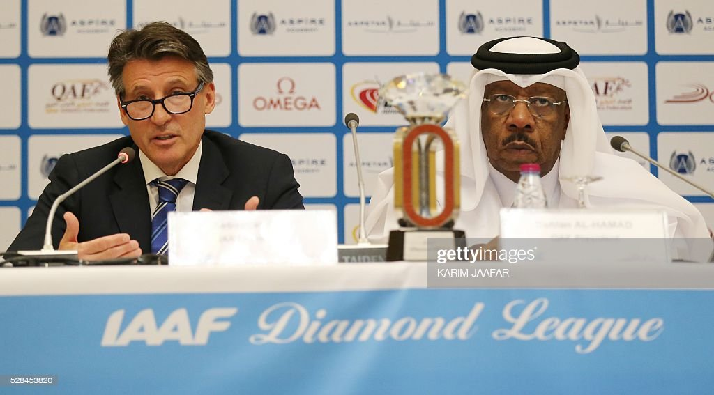 International Association of Athletics Federations (IAAF)'s president Sebastian Coe (L) and Qatar Athletics Federations' president Dahlan al-Hamad hold a press conference in the capital Doha on May 5, 2016, on the eve of the Diamond League athletics meeting. / AFP / KARIM