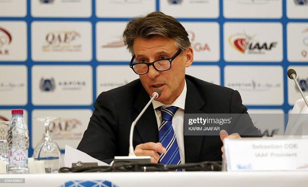 International Association of Athletics Federations (IAAF)'s president, Sebastian Coe, holds a press conference in the Qatari capital Doha on May 5, 2016, on the eve of the Diamond League athletics meeting. / AFP / KARIM