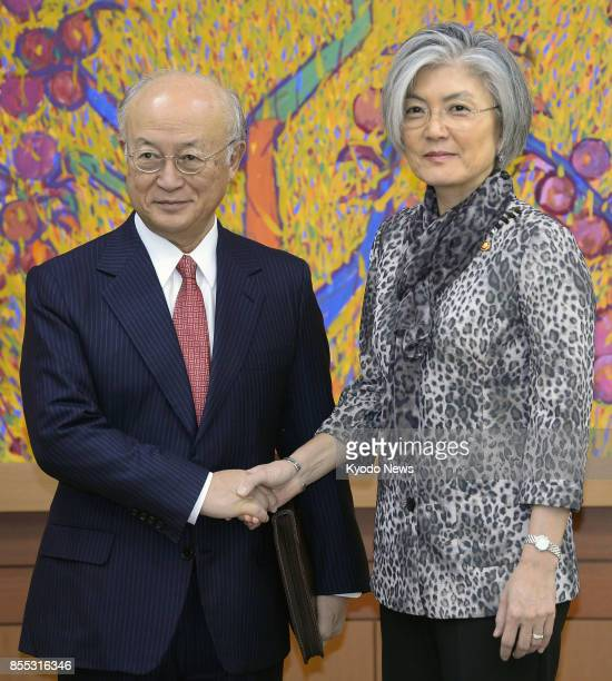 International Atomic Energy Agency chief Yukiya Amano meets with South Korean Foreign Minister Kang Kyung Wha in Seoul on Sept 29 2017 During their...