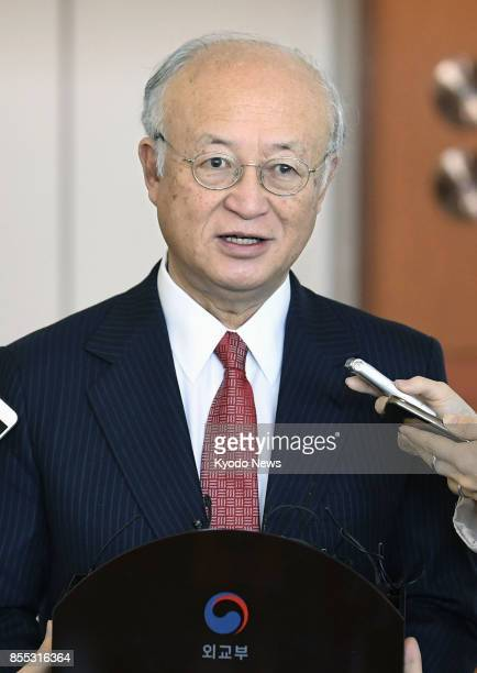 International Atomic Energy Agency chief Yukiya Amano meets with reporters after talking with South Korean Foreign Minister Kang Kyung Wha in Seoul...
