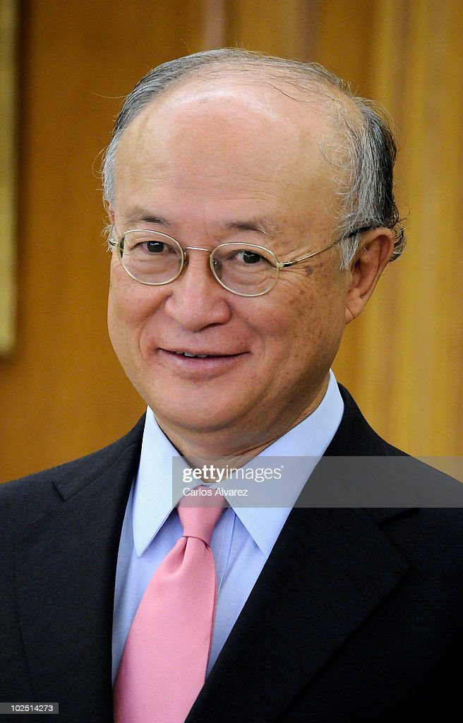International Atomic Energy Agency Director <a gi-track='captionPersonalityLinkClicked' href=/galleries/search?phrase=Yukiya+Amano&family=editorial&specificpeople=771232 ng-click='$event.stopPropagation()'>Yukiya Amano</a> smiles at Zarzuela Palace on June 29, 2010 in Madrid, Spain.