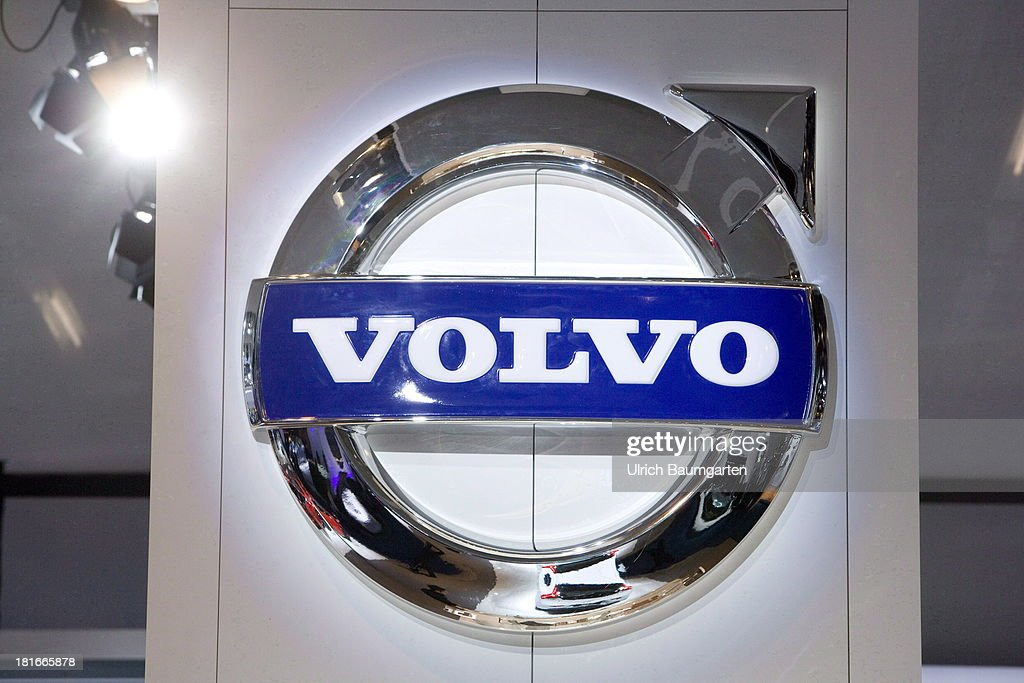 International Automobile Exhibition the logo of the Swedish automobile producer Volvo on September 16 2013 in Frankfurt Germany