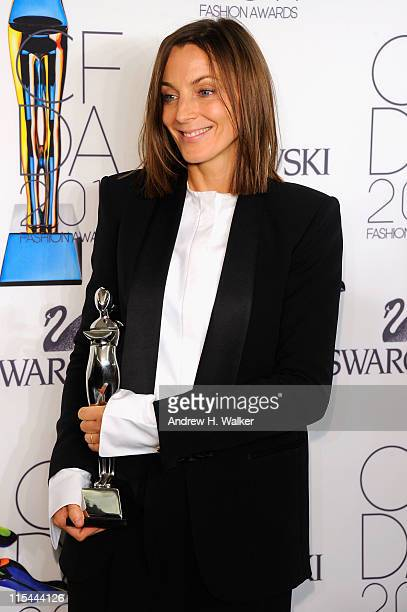 International Award honoree Phoebe Philo poses backstage at the 2011 CFDA Fashion Awards at Alice Tully Hall Lincoln Center on June 6 2011 in New...