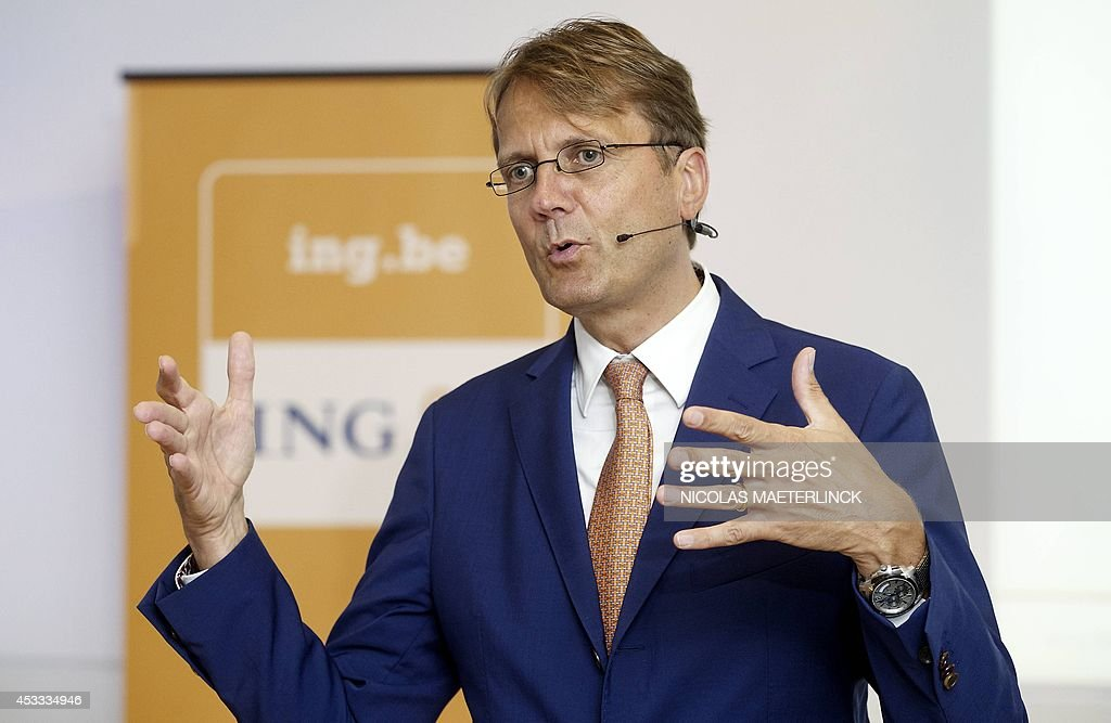 International banking and insurance company ING CEO Rik Vandenberghe speaks on August 8, 2014 during a press conference to present the half year financial results of ING Belgium at the ING headquarters in Brussels. AFP PHOTO / BELGA / NICOLAS MAETERLINCK ** Belgium Out **