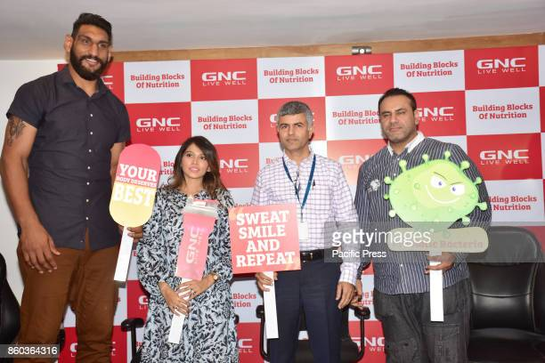 International Basketball player Satnam Singh Nutritionist Ms Noori M Gada Mr Shadab Khan CEO GNC India and Body builder Mr Sheru Harmeet Aangrish...