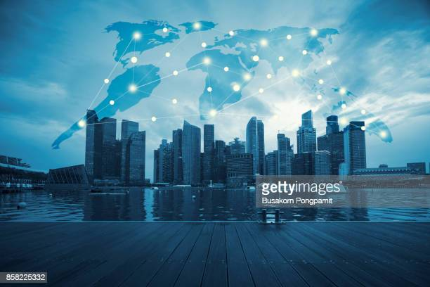 International business concept background with network on map and sunlight