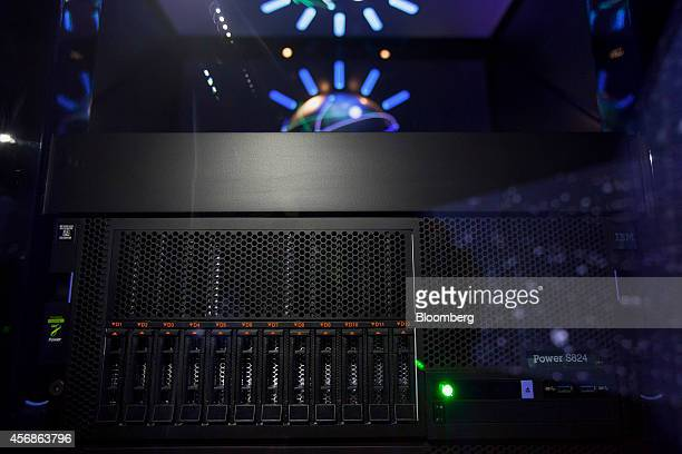 International Business Machines Corp's Watson is seen in the immersion room during an event at the company's headquarters in New York US on Tuesday...