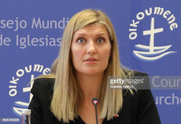 International Campaign to Abolish Nuclear Weapons executive director Beatrice Fihn holds a press conference at the ICAN headquarters in Geneva...