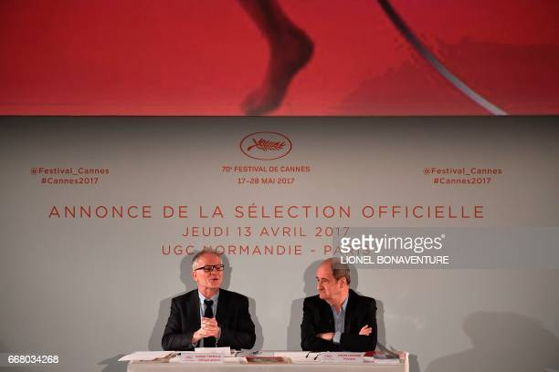 International Cannes Film Festival General Delegate Thierry Fremaux and Festival President Pierre Lescure speak during a press conference to announce...