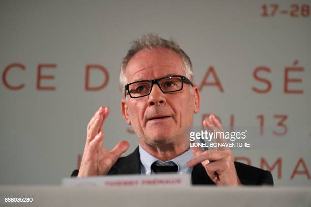International Cannes Film Festival General Delegate Thierry Fremaux speaks during a press conference to announce the movies in official competition...