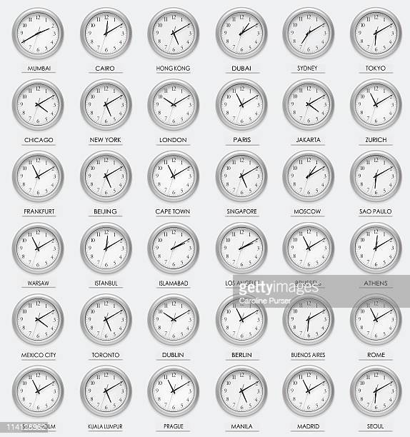36 international clocks with differing times