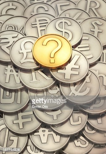 International coins, question mark coin on top : ストックフォト