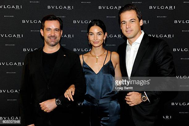 International Communication Director at Bulgari Stephane Gerschel model Lily Aldridge and President North America at Bulgari Daniel Paltridge attend...
