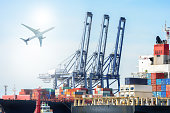 International Container Cargo ship and Cargo plane for logistic import export background and transport industry.