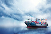 International Container Cargo ship in the ocean, Freight Transportation, Nautical Vessel
