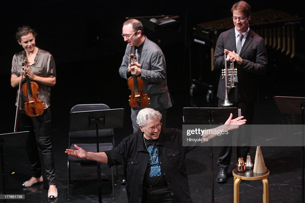 International Contemporary Ensemble performs an all-Pauline Oliveros program at the Clark Studio Theater as part of Mostly Mozart Festival on Tuesday night, August 20, 2013.This image:The composer Pauline Oliveros, in front, in curtain call with, from left, Jennifer Curtis, David Bowlin and Gareth Flowers.