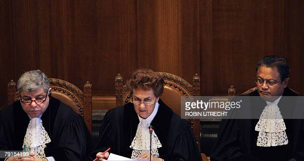 International Court of Justice Vice President Judge Awn Shawkat AlKhasawneh President Rosalyn Higgins and Judge Raymond Ranjeva hold 22 January 2008...