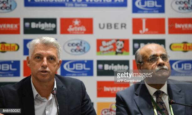 International Cricket Council Chief Executive David Richardson addresses a press conference along with Chairman of Pakistan Cricket Board Najam Sethi...