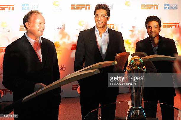 International Cricket Council General Manager commercial Campbell Jamieson ESPN Star sports Commentators Sanjay Manjrekar and Wasim Akram pose with a...