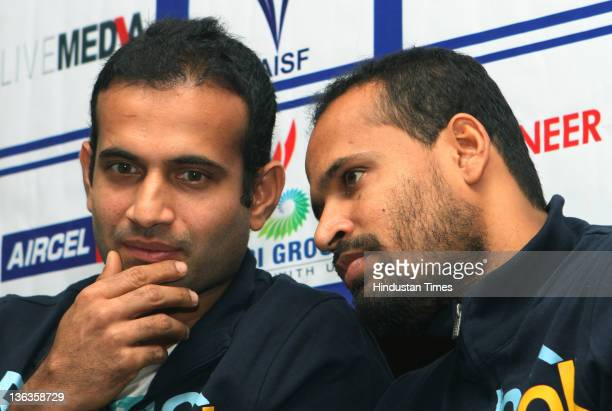 International Cricketers and brothers Irfan Pathan and Yusuf Pathan appear at the launch of cricket reality show Cricket Champs during a press...