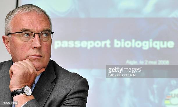 International Cycling Union President Pat McQuaid gestures during a press conference to introduce the Biological Passport for athletes on May 2 2008...
