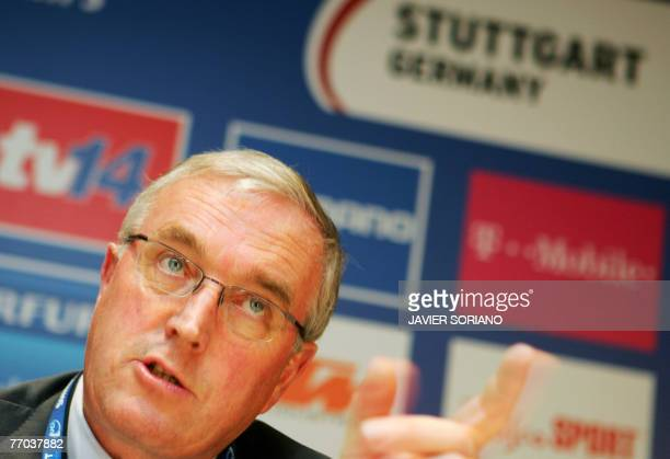 International Cycling Union President Pat McQuaid gives a press conference about Spanish cyclist Alejandro Valverde 26 September 2007 during the UCI...