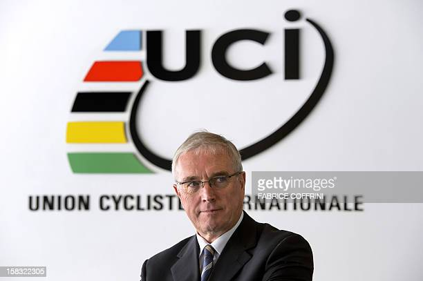 International Cycling Union president Pat McQuaid poses prior to an interview with AFP journalists on December 13 at the World cycling governing...