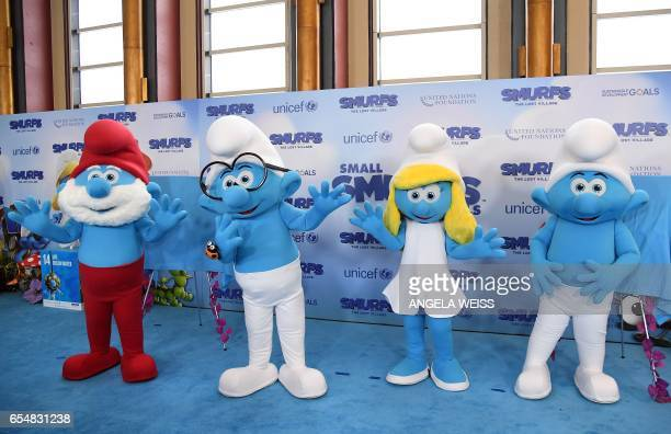 International Day of Happiness in conjunction with SMURFS THE LOST VILLAGE at the United Nations Headquarters on March 18 2017 in New York City / AFP...