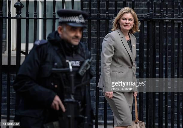 International Development Secretary Justine Greening arrives at Downing Street on February 20 2016 in London England Mr Cameron has returned to...