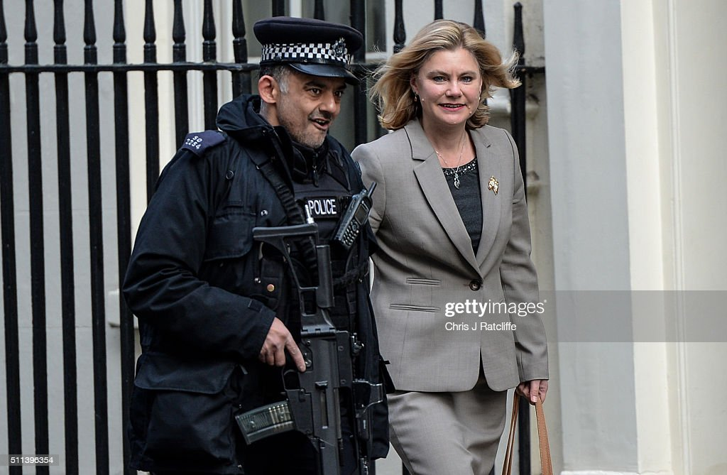 International Development Secretary <a gi-track='captionPersonalityLinkClicked' href=/galleries/search?phrase=Justine+Greening&family=editorial&specificpeople=2466449 ng-click='$event.stopPropagation()'>Justine Greening</a> arrives at Downing Street on February 20, 2016 in London, England. Mr Cameron has returned to London after securing a deal following two days of talks with European leaders in Brussels regarding Britain's relationship with the EU. He said the deal will give the United Kingdom 'special status' within the EU. An in/out referendum on EU membership is expected as early as June this year.
