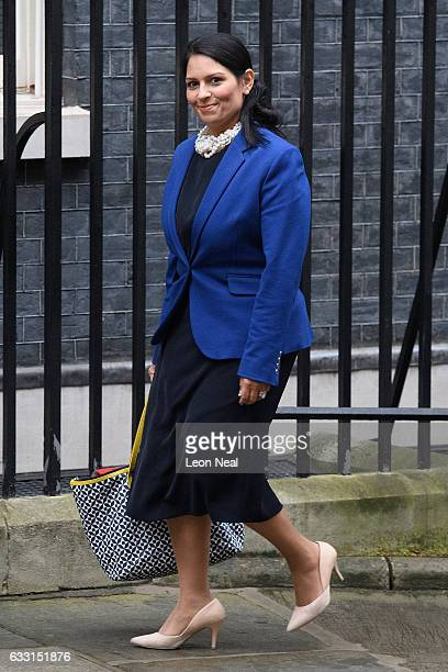 International Development Secretary Priti Patel arrives for the weekly Cabinet meeting at Downing Street on January 31 2017 in London England The...