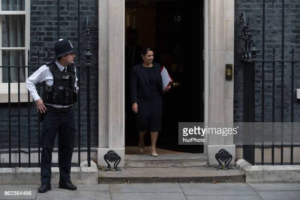 International Development Secretary Priti Patel leaves Downing Street following a Cabinet meeting London on October 17 2017