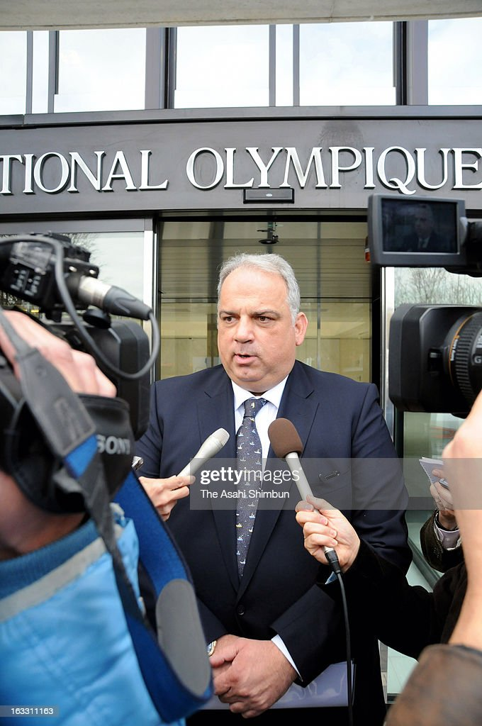 International Federation of Associated Wrestling Styles (FILA) acting president Nenad Lalovic speaks to the press reporters after a meeting with International Olympic Committee (IOC) president Jacques Rogge (not pictured) at the IOC Headquarters on March 7, 2013 in Lausanne, Switzerland.