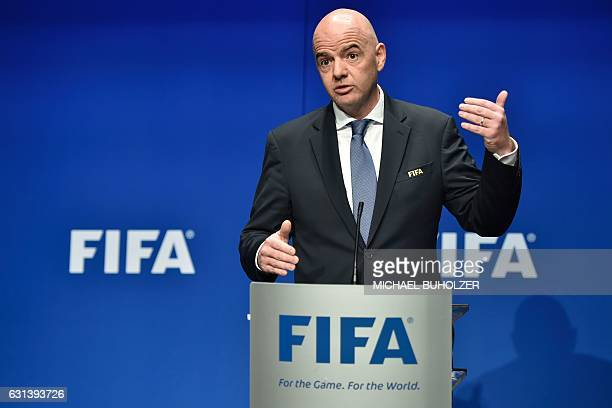International Federation of Association Football President Gianni Infantino speaks during a press briefing closing a meeting of the FIFA executive...
