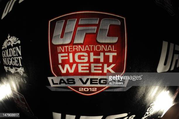 International Fight Week banner is seen during a pub crawl as part of the International Fight Week festivities at the Fremont Street Experience on...