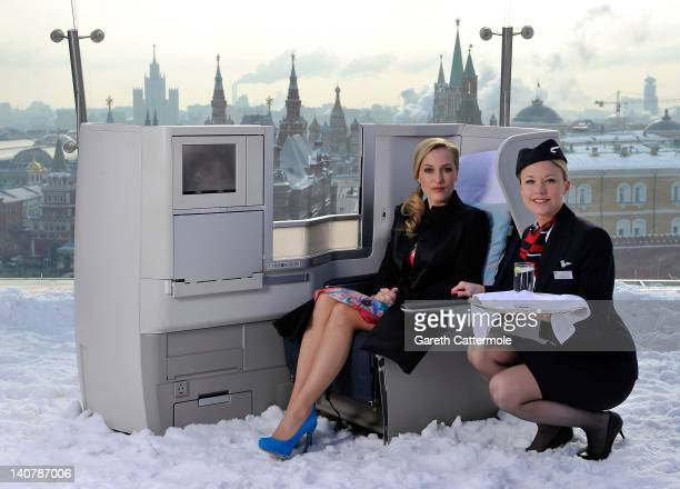International film actress Gillian Anderson pictured on the rooftop of the RitzCarlton Hotel overlooking Red Square in a British Airways Business...