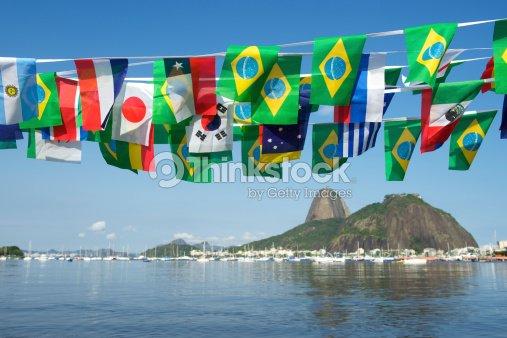 International Flag Bunting Rio De Janeiro Brazil Stock Photo