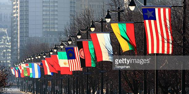 International flags at Philadelphia Park way