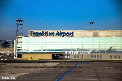 International Frankfurt Airport on blue winter sky background : Stockfoto