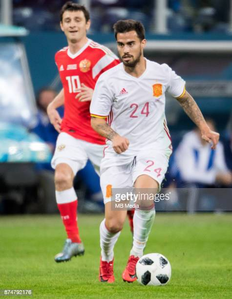 SPAIN International friendly football match at Saint Petersburg Stadium The game ended in a 33 draw Russia's Alan Dzagoev and Spain's Suso Fernandez