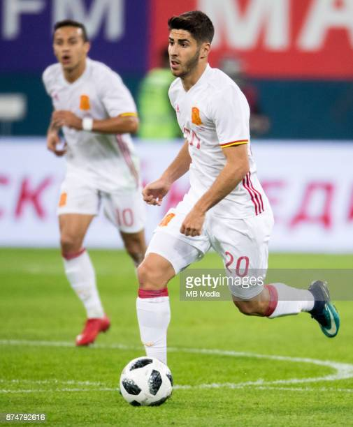 SPAIN International friendly football match at Saint Petersburg Stadium The game ended in a 33 draw Spain's Marco Asensio