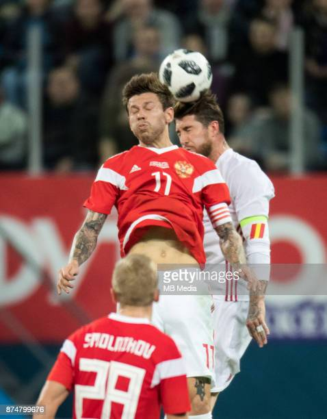 SPAIN International friendly football match at Saint Petersburg Stadium The game ended in a 33 draw Russia's Fedor Smolov against Spain's Sergio Ramos