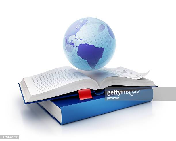 international globe and book icon