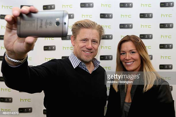 International goalkeepers Peter Schmeichel and Emma Byrne launch HTC's UEFA Collectors Edition 'Champions' handset at Carphone Warehouse on February...