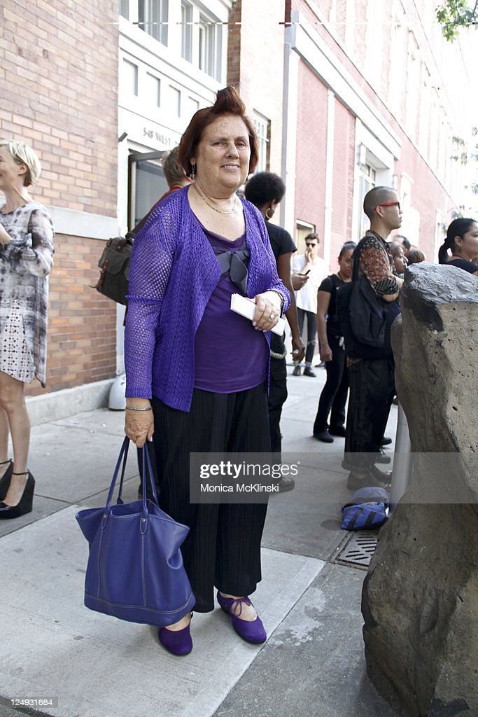 International Herald Tribune Fashion Writer, <a gi-track='captionPersonalityLinkClicked' href=/galleries/search?phrase=Suzy+Menkes&family=editorial&specificpeople=816435 ng-click='$event.stopPropagation()'>Suzy Menkes</a> arrives for the Theyskens' Theory Showing at Center 548 in Manhattan during Spring 2012 Fashion Week on September 13, 2011 in New York City.