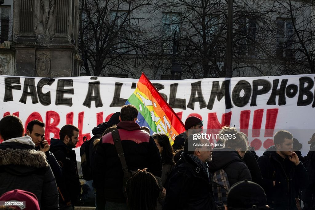 International human rights groups gathered at Fontaine des Innocents call on France to suspend its state of emergency and end what one has described as 'abusive and discriminatory' measures in Paris, France on February 6, 2016. France introduced a 12-day state of emergency within hours of Daesh-claimed attacks that killed 130 people on Nov. 13. Parliament later extended it for a further three months.