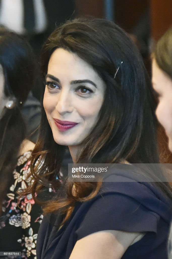 International Human Rights Lawyer Amal Clooney attends a meeting with The Secretary-General Of The United Nations Antonio Guterres at United Nations Headquarters on March 10, 2017 in New York City.