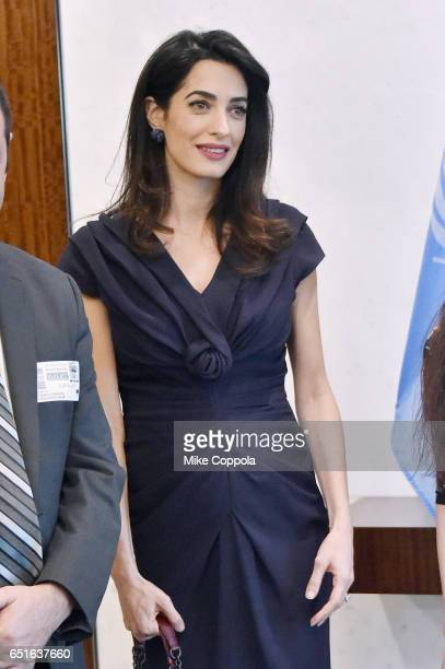 International Human Rights Lawyer Amal Clooney attends a meeting with The SecretaryGeneral Of The United Nations Antonio Guterres at United Nations...