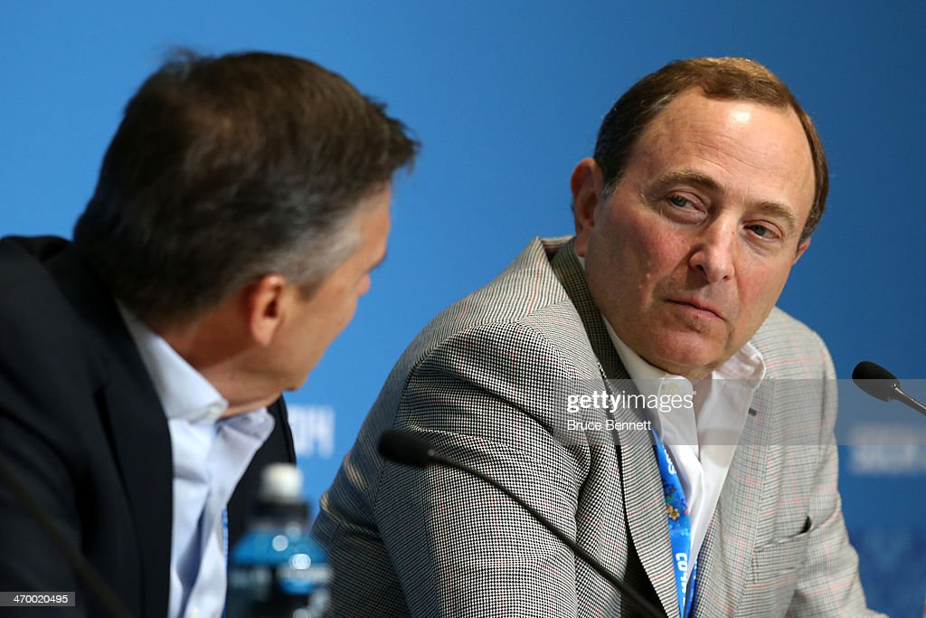 International Ice Hockey Federation President <a gi-track='captionPersonalityLinkClicked' href=/galleries/search?phrase=Rene+Fasel&family=editorial&specificpeople=2163959 ng-click='$event.stopPropagation()'>Rene Fasel</a> and National Hockey League Commissioner <a gi-track='captionPersonalityLinkClicked' href=/galleries/search?phrase=Gary+Bettman&family=editorial&specificpeople=215089 ng-click='$event.stopPropagation()'>Gary Bettman</a> speak during a press conference on day eleven of the Sochi 2014 Winter Olympics on February 18, 2014 in Sochi, Russia.